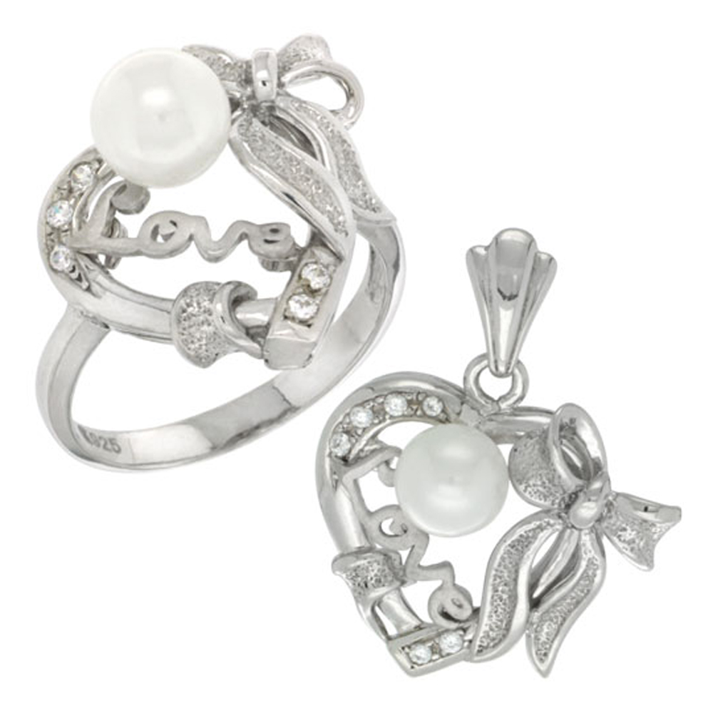Sterling Silver Heart LOVE Bow Faux Pearl Ring & Pendant Set CZ Stones Rhodium Finished