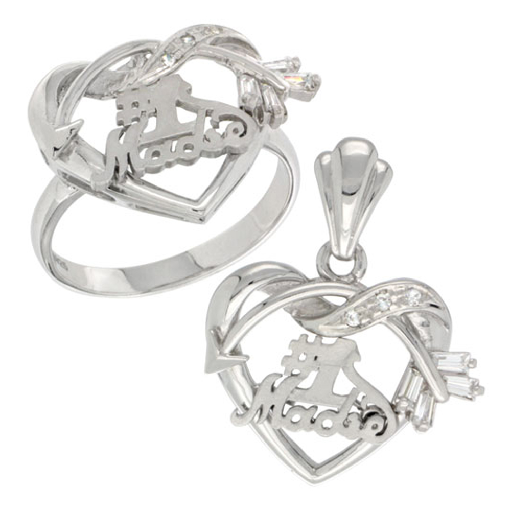 Sterling Silver #1 Madre Cupid\'s Bow Heart Ring & Pendant Set CZ Stones Rhodium Finished