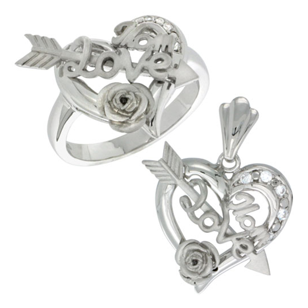 Sterling Silver LOVE MOM Cupid\'s Bow & Rose Heart Ring & Pendant Set CZ Stones Rhodium Finished