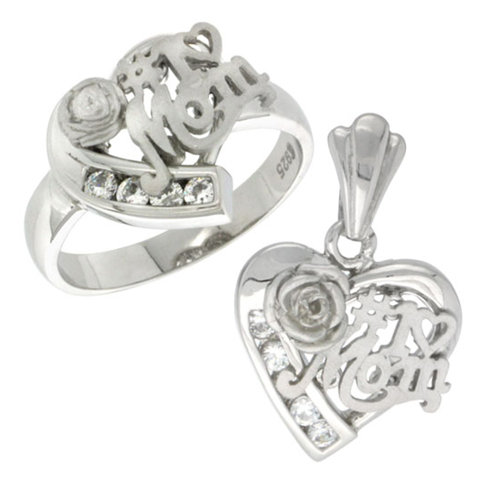 Sterling Silver #1 MOM Heart Love Ring & Pendant Set CZ Stones Rhodium Finished