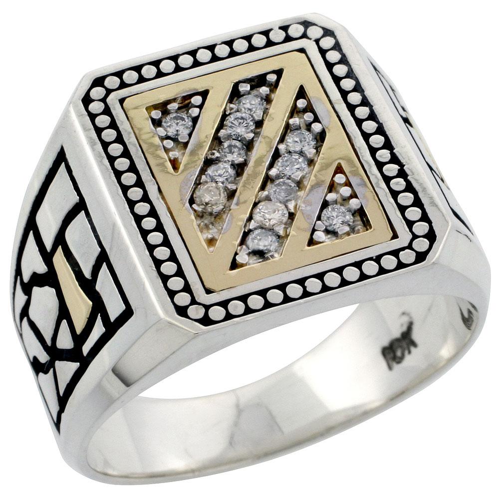 10k Gold & Sterling Silver 2-Tone Men\'s Diagonal Stripe Diamond Ring with 0.16 ct. Brilliant Cut Diamonds, 5/8 inch wide