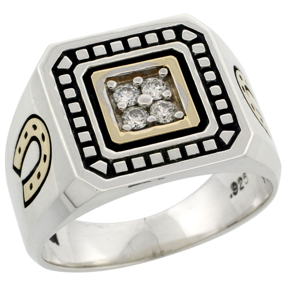 10k Gold & Sterling Silver 2-Tone Men\'s Horse Shoe Design Diamond Ring with 0.19 ct. Brilliant Cut Diamonds, 19/32 inch wide