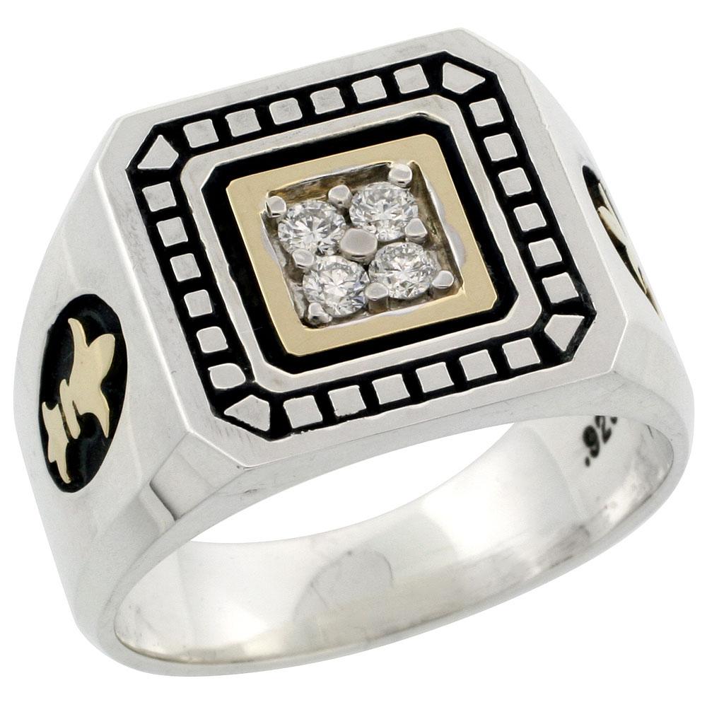 10k Gold & Sterling Silver 2-Tone Men\'s Fleur De Lys Design Diamond Ring with 0.20 ct. Brilliant Cut Diamonds, 19/32 inch wide