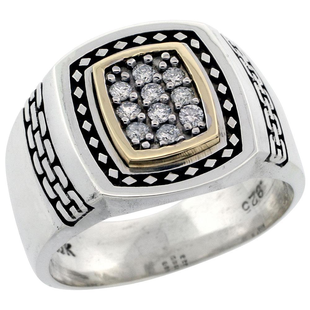 10k Gold & Sterling Silver 2-Tone Men\'s Brick Design Diamond Ring with 0.24 ct. Brilliant Cut Diamonds, 5/8 inch wide