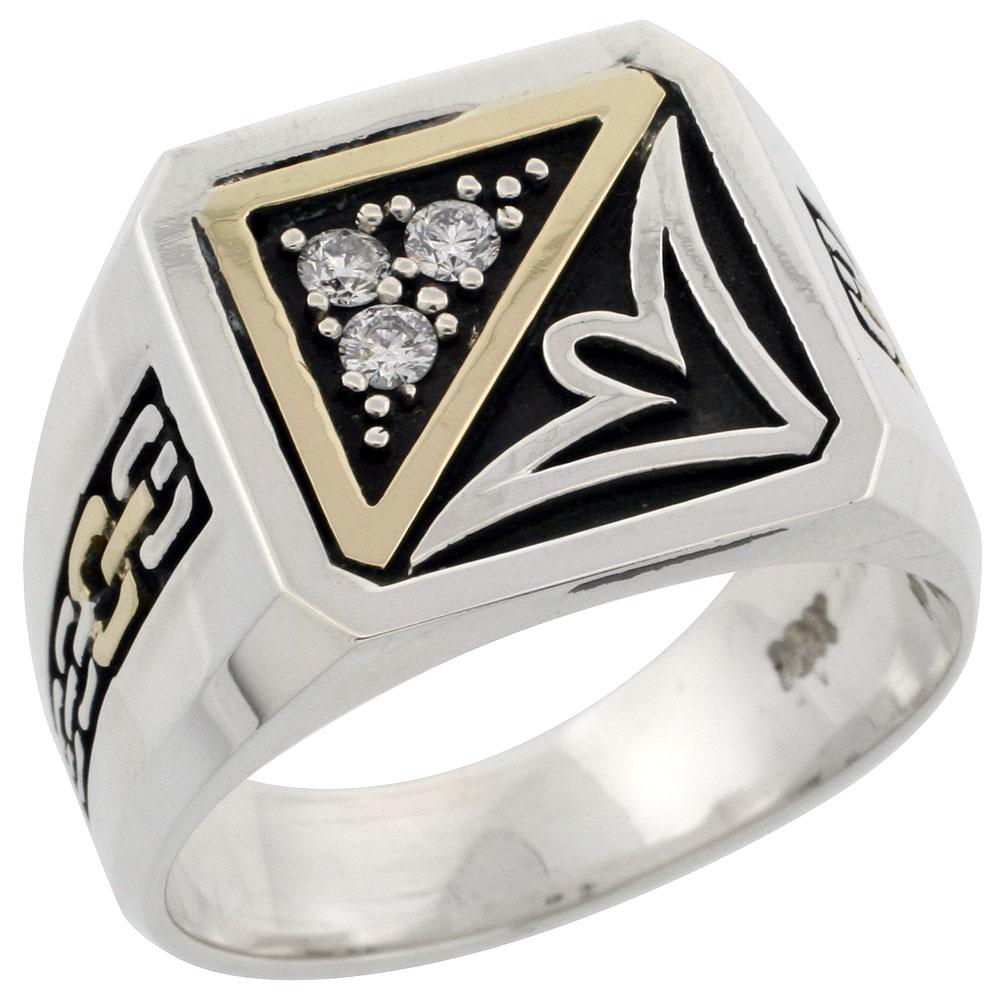 10k Gold & Sterling Silver 2-Tone Men\'s Chain Link Design Square Diamond Ring with 0.14 ct. Brilliant Cut Diamonds, 19/32 inch wide