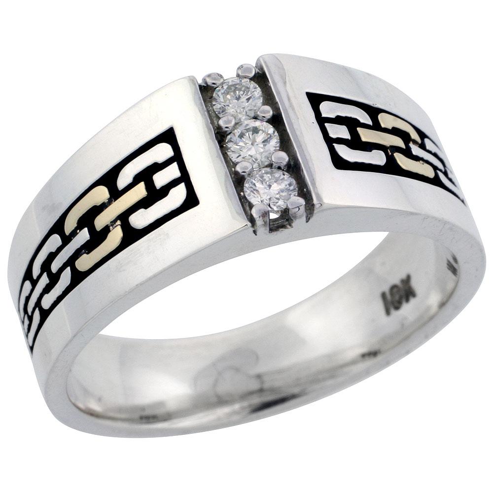 10k Gold & Sterling Silver 2-Tone Men\'s 3-Stone Chain Link Design Diamond Ring with 0.18 ct. Brilliant Cut Diamonds, 3/8 inch wide