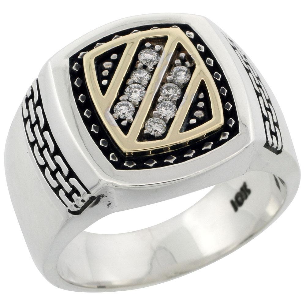 10k Gold & Sterling Silver 2-Tone Men\'s Diagonal Stripe Design Diamond Ring with 0.17 ct. Brilliant Cut Diamonds, 11/16 inch wide