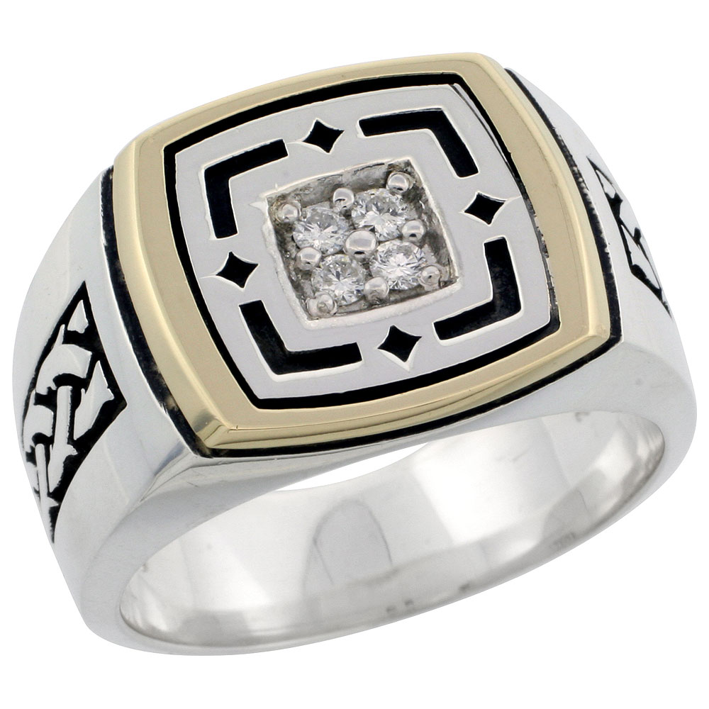 10k Gold & Sterling Silver 2-Tone Men\'s Square Diamond Ring with 0.16 ct. Brilliant Cut Diamonds, 19/32 inch wide