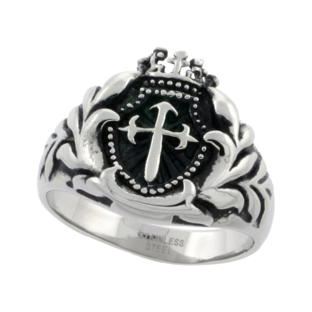 Stainless Steel St. James Cross Ring Biker Rings for men 9/16 inch, sizes 8 - 15
