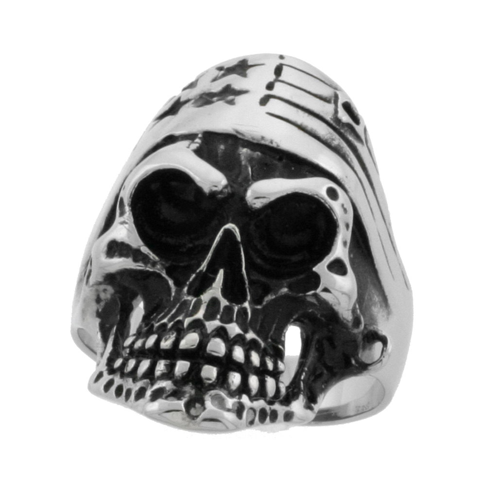 Surgical Stainless Steel Biker Skull Ring with American Flag Bandana 1 5/16 inch wide, sizes 8 - 15