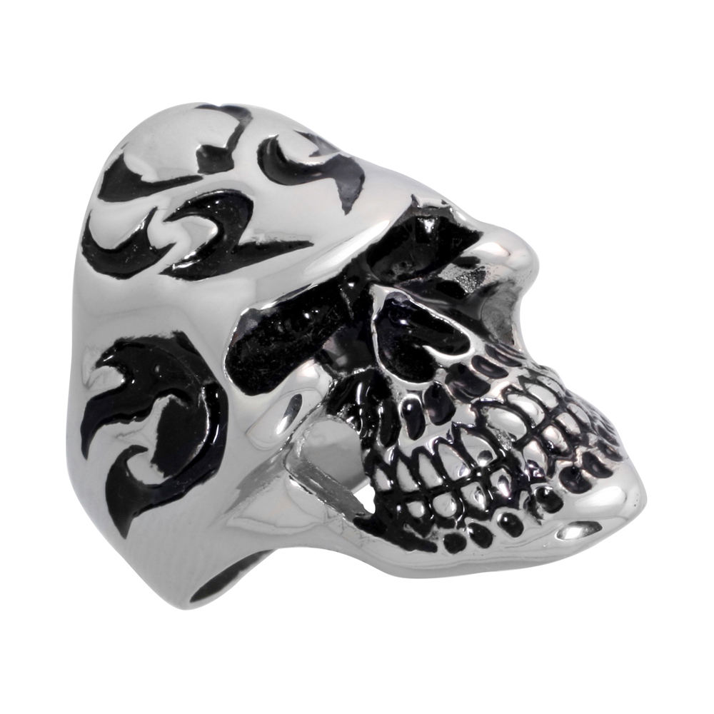 Stainless Steel Skull Tribal Tattoos Ring Biker Rings for men 1 3/8 inch, sizes 9 - 15