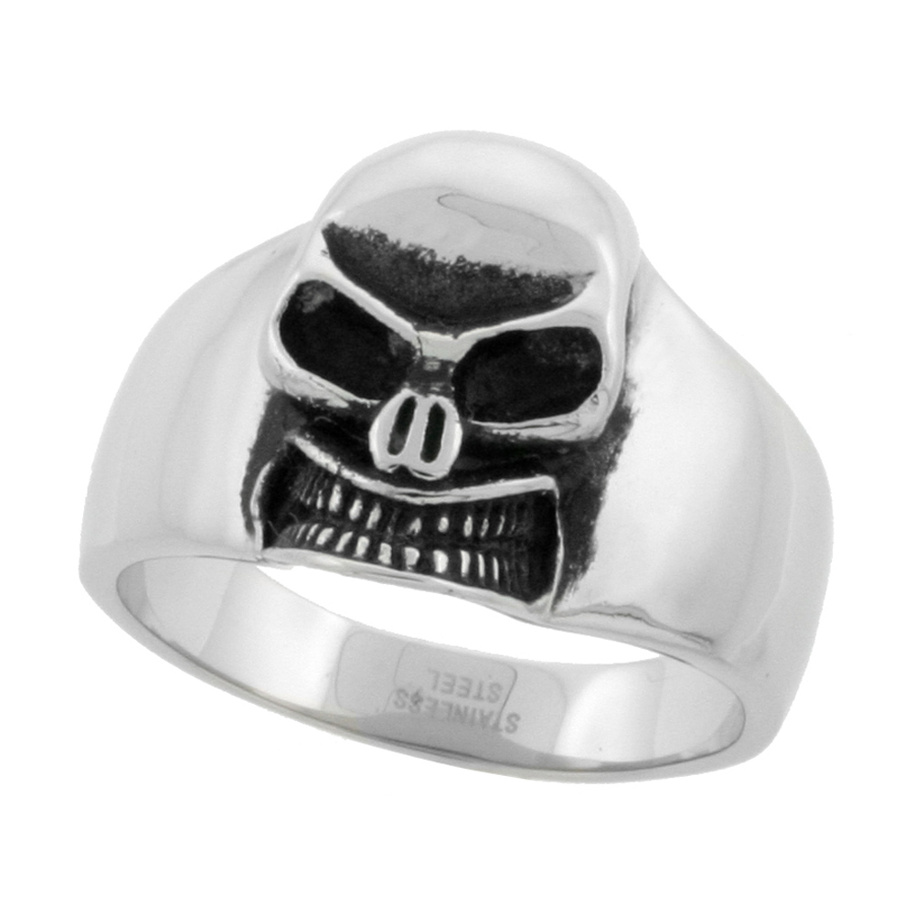 Stainless Steel Skull Ring Biker Rings for men 3/4 inch, sizes 9 - 15