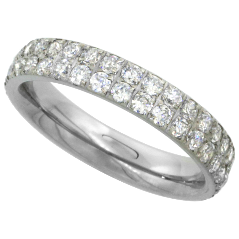 Surgical Stainless Steel 2-Row Eternity Band Ring Cubic Zirconia Stones 4mm, sizes 5 - 9