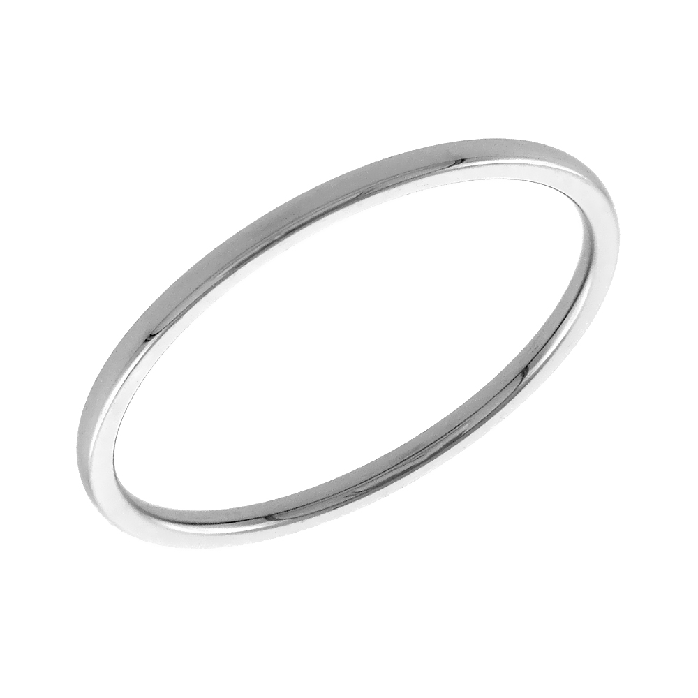 Stainless Steel Plain Midi Ring 1mm Toe Ring Baby Ring Domed Stackable Polished Comfort Fit, sizes 1-6
