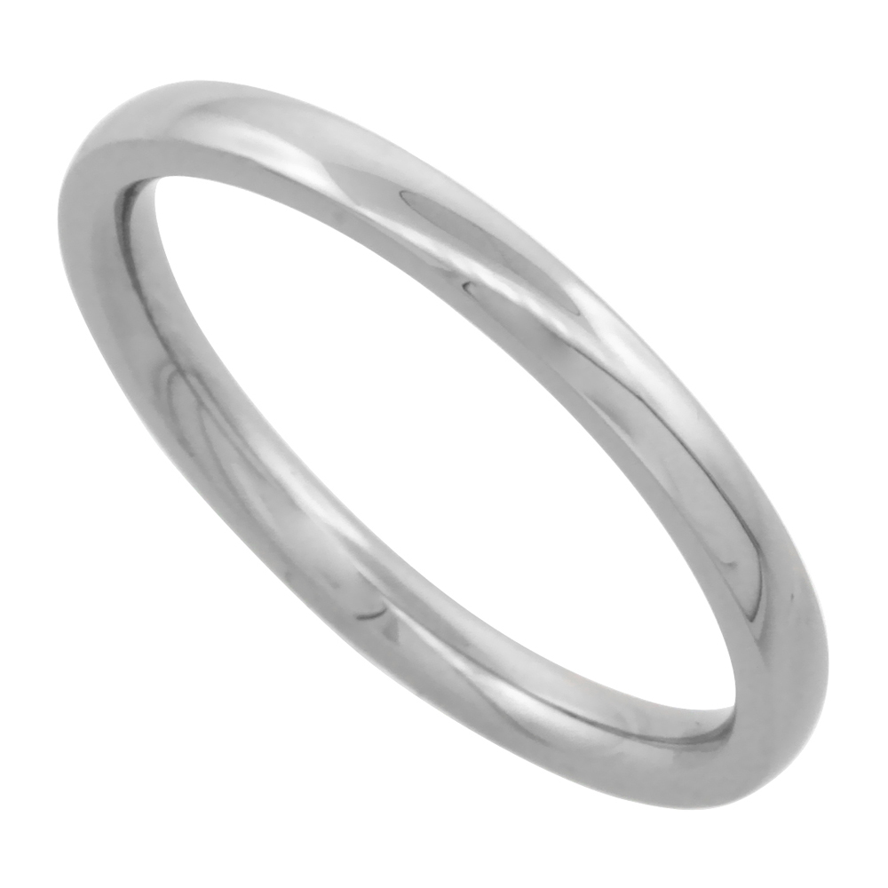 Surgical Stainless Steel 2mm Domed Wedding Band Thumb / Toe Ring Comfort-Fit High Polish, sizes 1 - 12