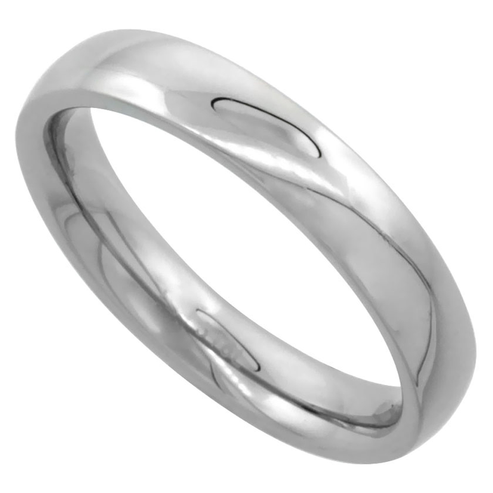 Surgical Stainless Steel 4mm Domed Wedding Band Thumb Ring Comfort-Fit High Polish, sizes 5 - 12