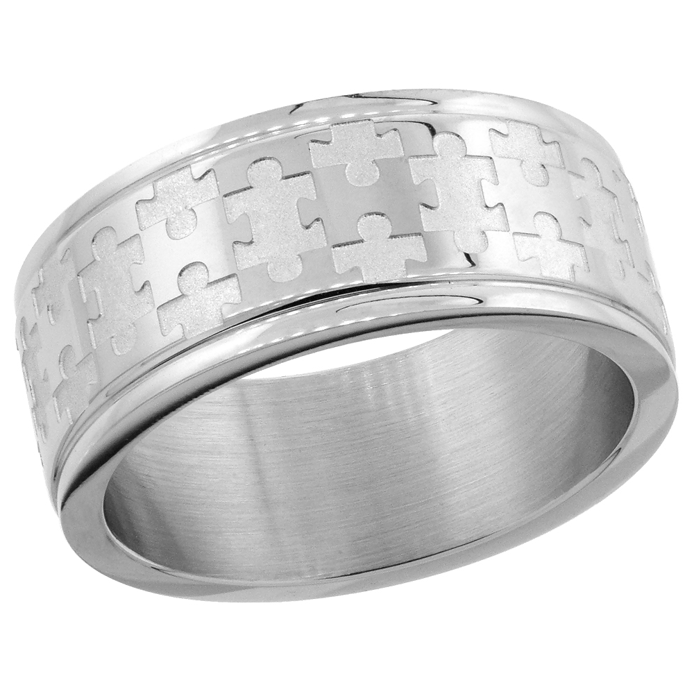 Sabrina Silver Surgical Steel 8mm Autism Awareness Jigsaw Puzzle Wedding Band Ring, size 10.5 at Sears.com