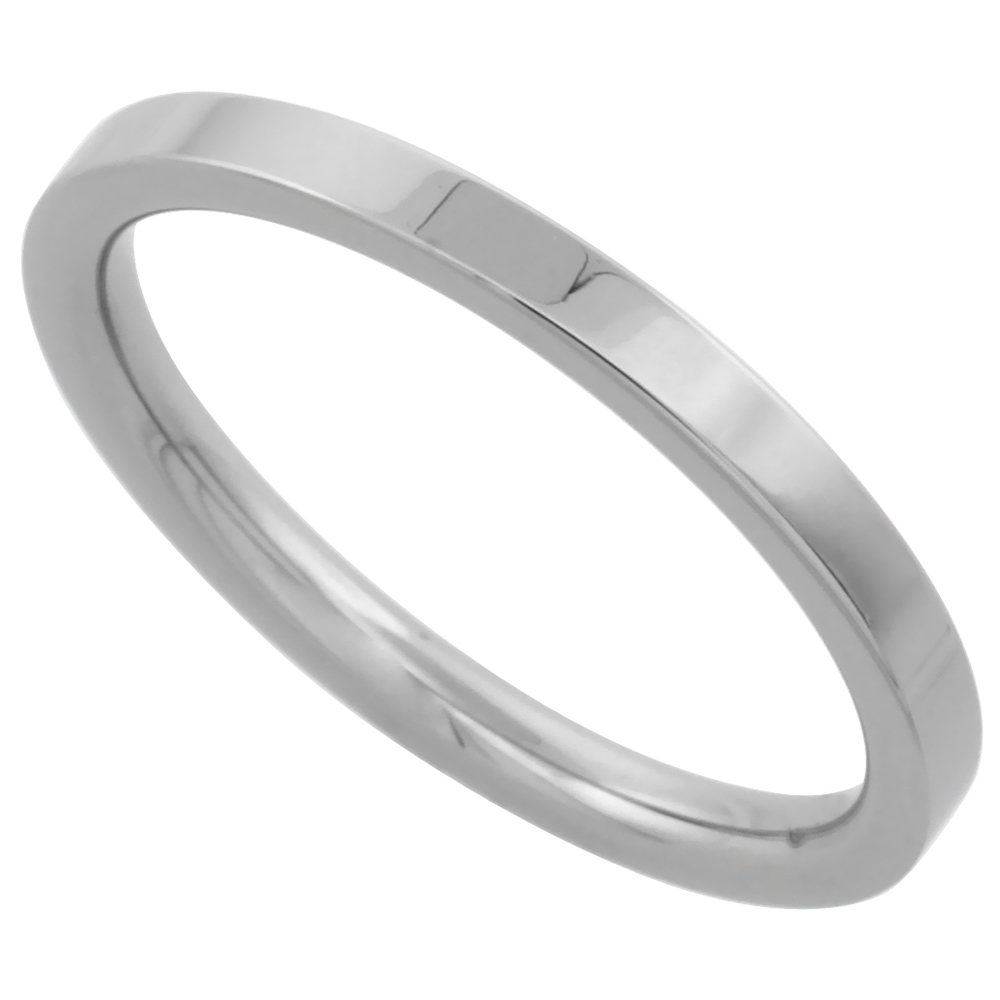 Surgical Stainless Steel 2mm Wedding Band Thumb / Toe Ring Comfort-Fit High Polish, sizes 1 - 12
