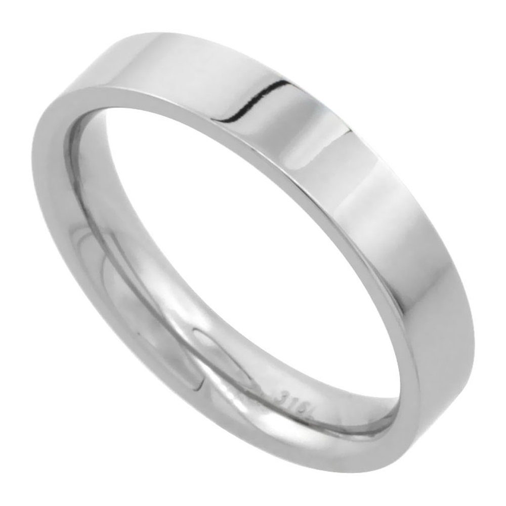 Surgical Stainless Steel 4mm Wedding Band Thumb Ring Comfort-Fit High Polish, sizes 5 - 12