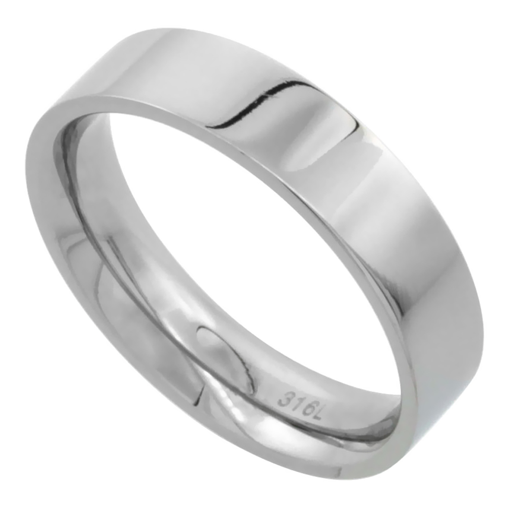 Surgical Stainless Steel 5mm Wedding Band Thumb Ring Comfort-Fit High Polish, sizes 5 - 12