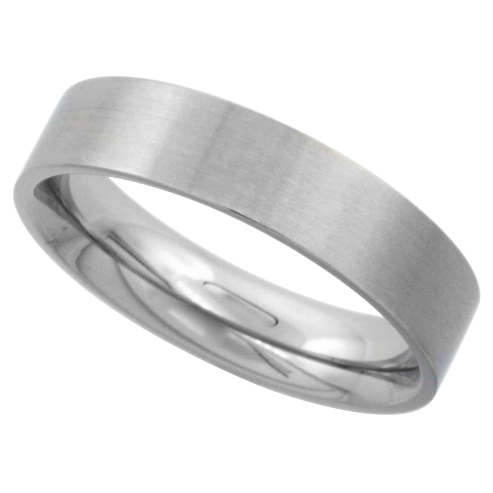 Surgical Stainless Steel 5mm Wedding Band Thumb Ring Comfort-Fit Matte Finish, sizes 5 - 12