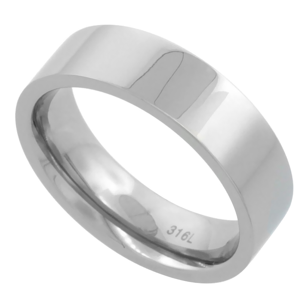 Surgical Stainless Steel 6mm Wedding Band Thumb Ring Comfort-Fit High Polish, sizes 5 - 12