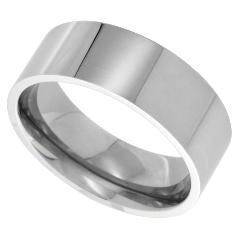 Surgical Stainless Steel 8mm Wedding Band Thumb Ring Comfort-Fit High Polish, sizes 8 - 15
