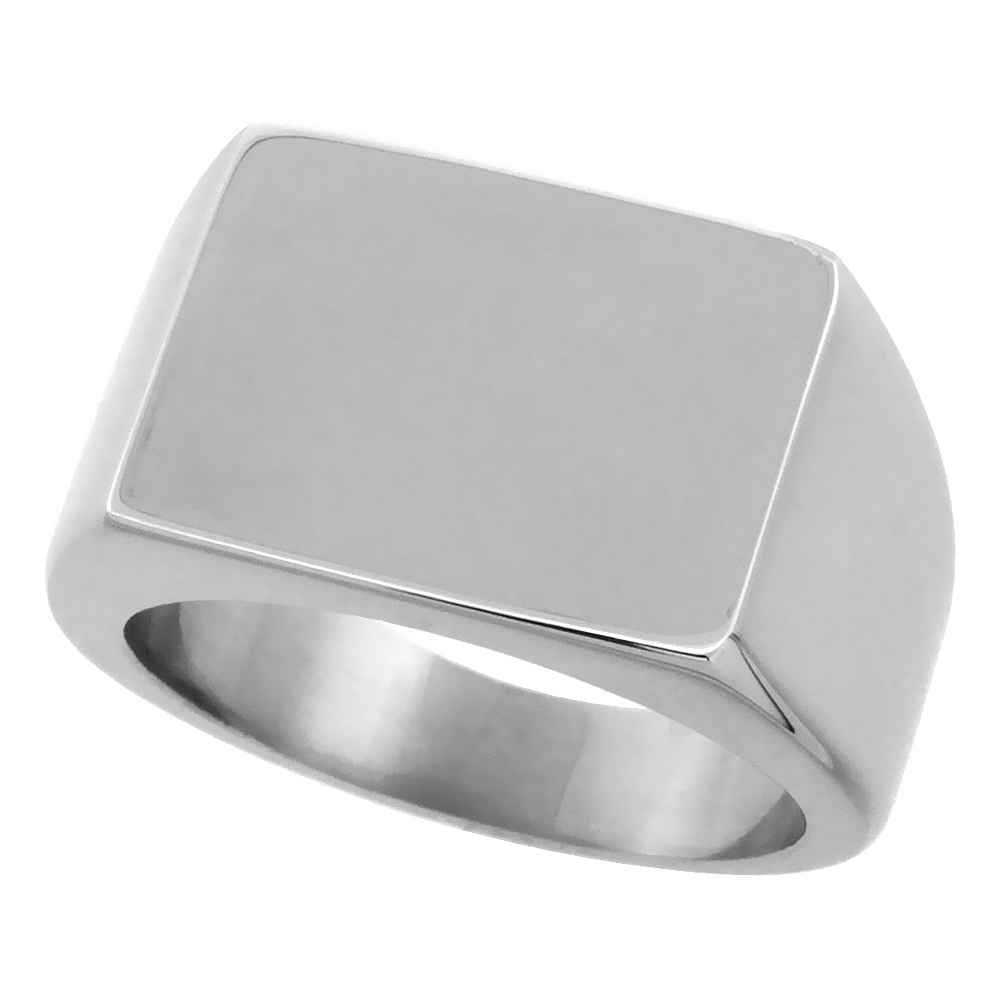 Surgical Stainless Steel Rectangular Signet Ring Solid Back Flawless Finish 1/2 inch, sizes 8 to 13