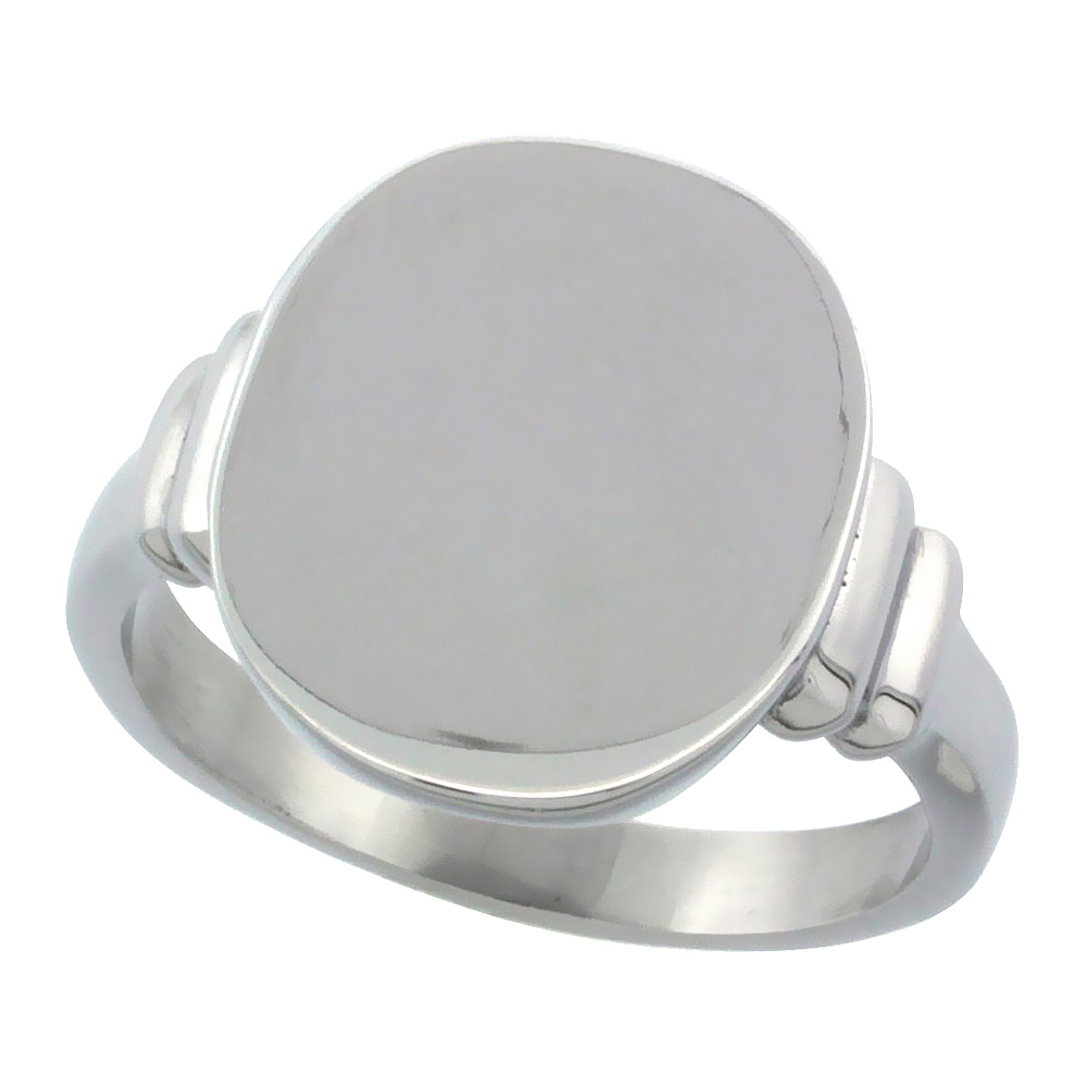 Surgical Stainless Steel Medium Signet Ring Solid Back Flawless Finish 3/8 inch, sizes 5 - 9