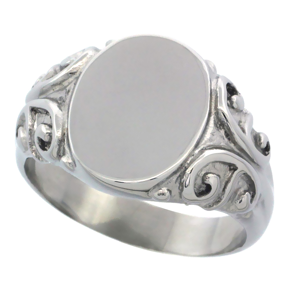 Stainless Steel Medium Signet Ring Solid Back Flawless Finish with C Scrolls 1/2 inch, sizes 5 - 10