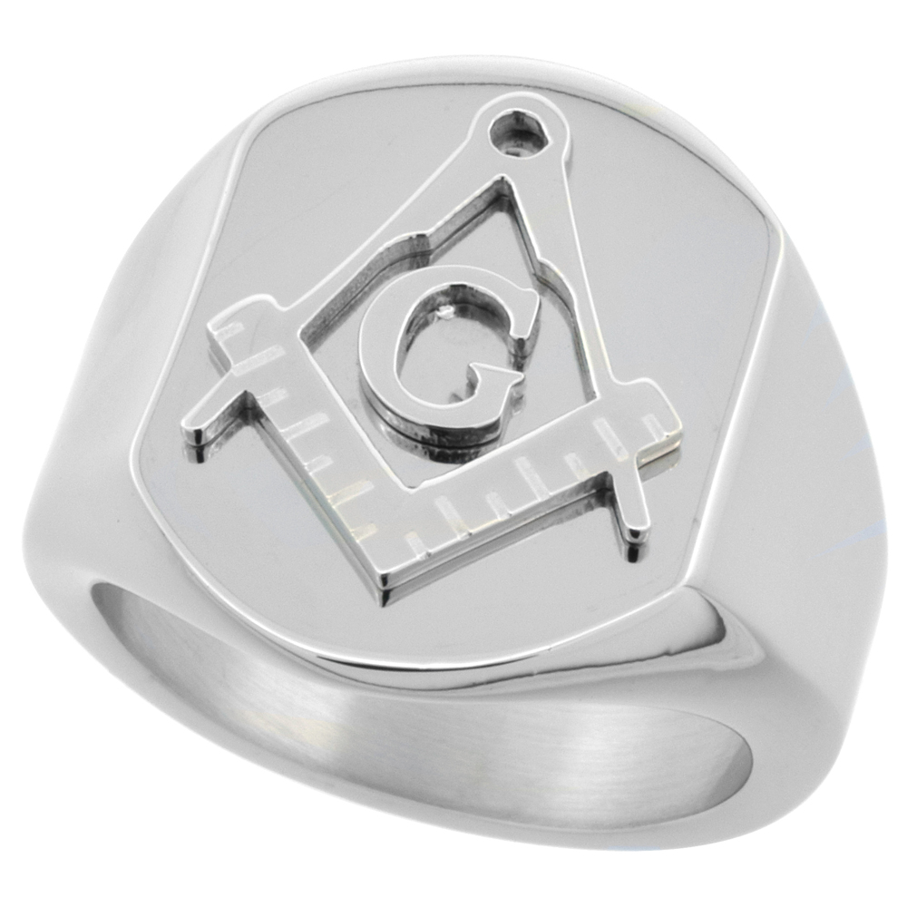 Surgical Stainless Steel Masonic Symbol Ring Square and Compass 3/4 inch, sizes 8 - 14