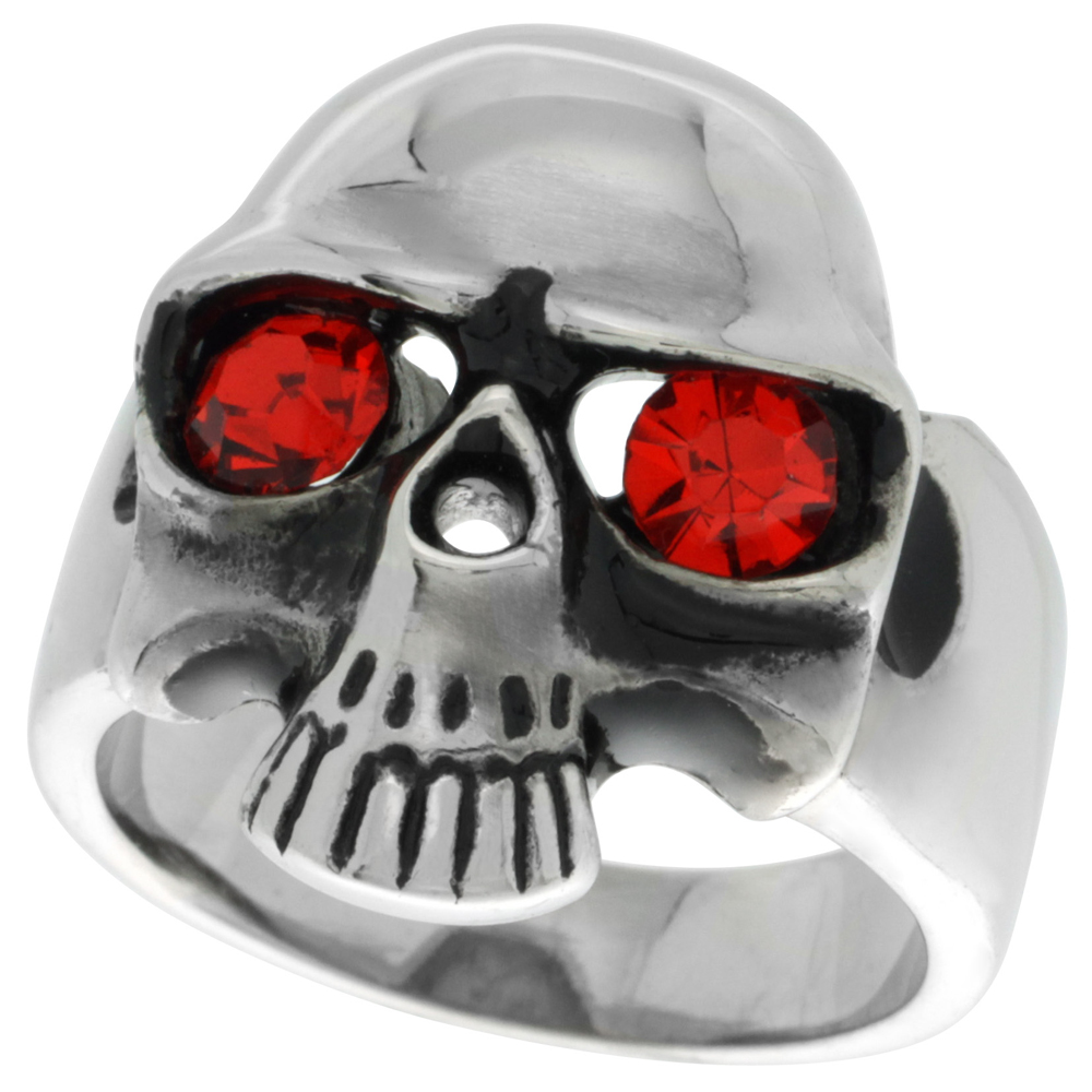 Sabrina Silver Surgical Steel Biker Ring Skull with Red CZ Eyes, Size 11 at Sears.com