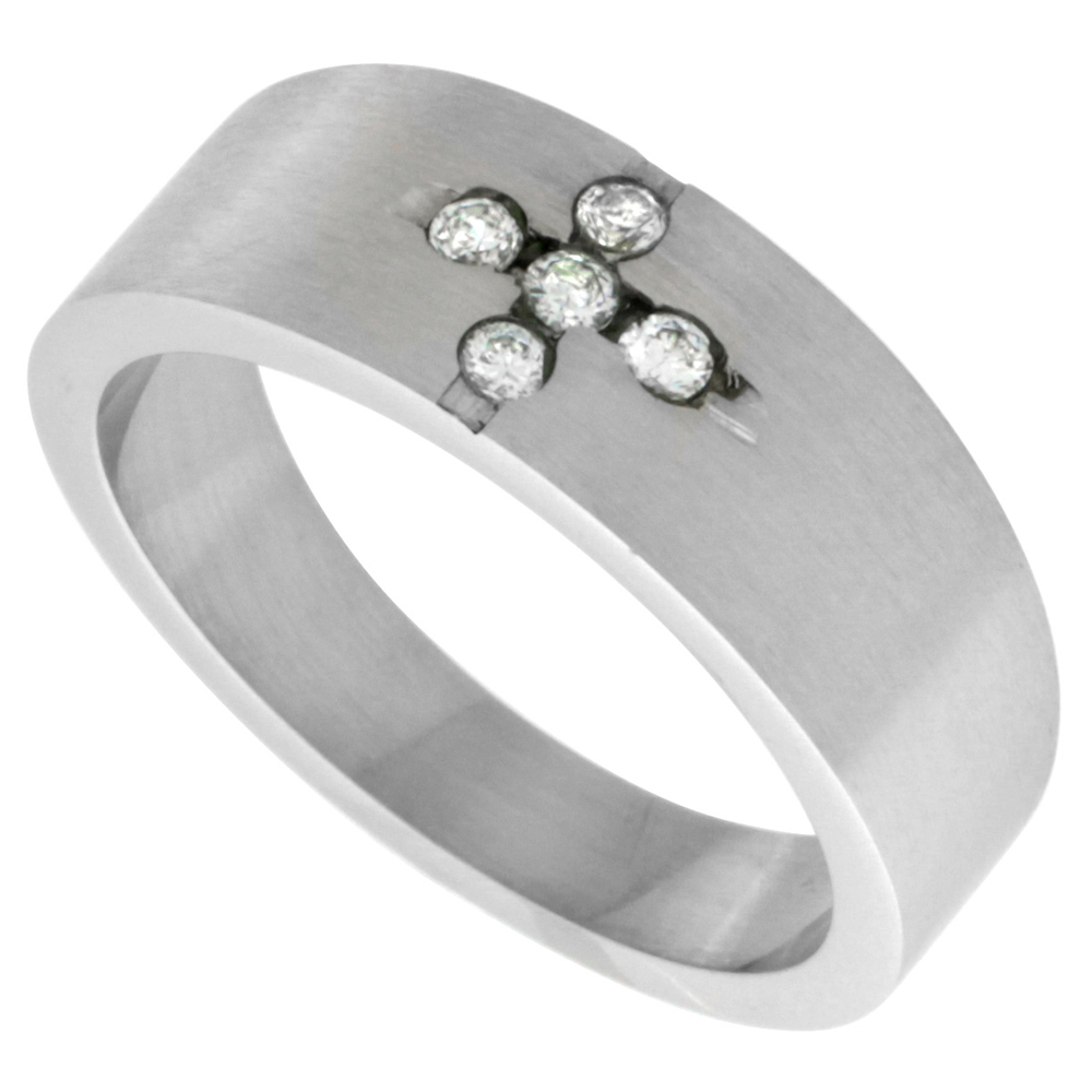 Surgical Stainless Steel 8mm CZ Cross Wedding Band Ring Matte Finish, sizes 8 - 14