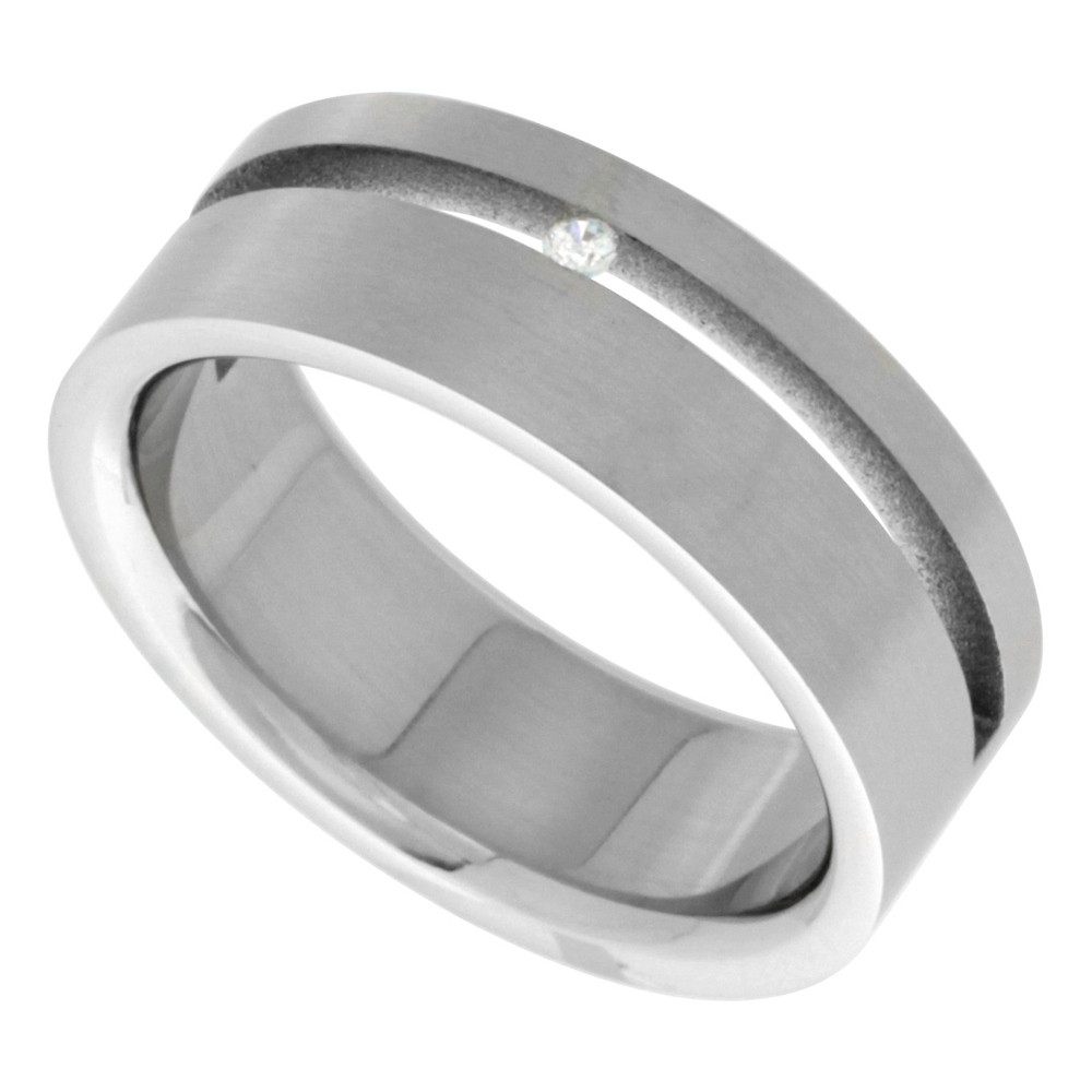 Surgical Stainless Steel 8mm Cubic Zirconia Wedding Band Ring Channel Set Matte Finish, sizes 8 - 14