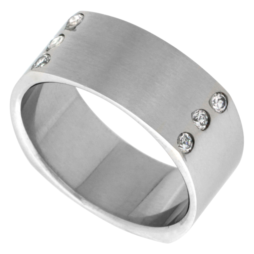 Surgical Stainless Steel 9mm Cubic Zirconia Square Wedding Band Ring Matte Finish, sizes 8 - 14