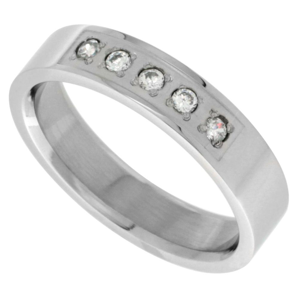 Surgical Stainless Steel 5mm Cubic Zirconia Wedding Band Ring 5-stone Polished Finish, sizes 8 - 14