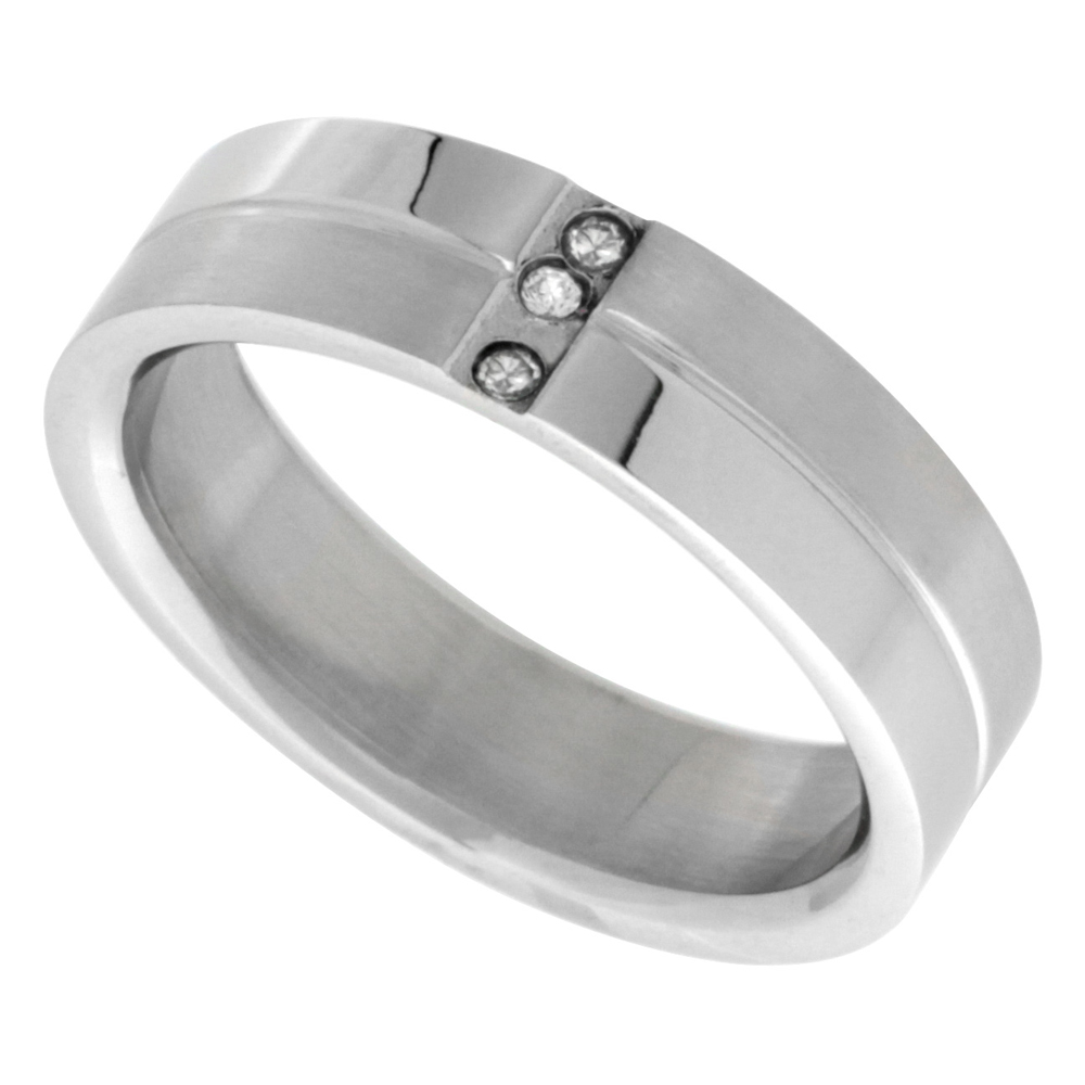 Surgical Stainless Steel 7mm Cubic Zirconia Wedding Band Ring 3-stones Grooved Center, sizes 8 - 14