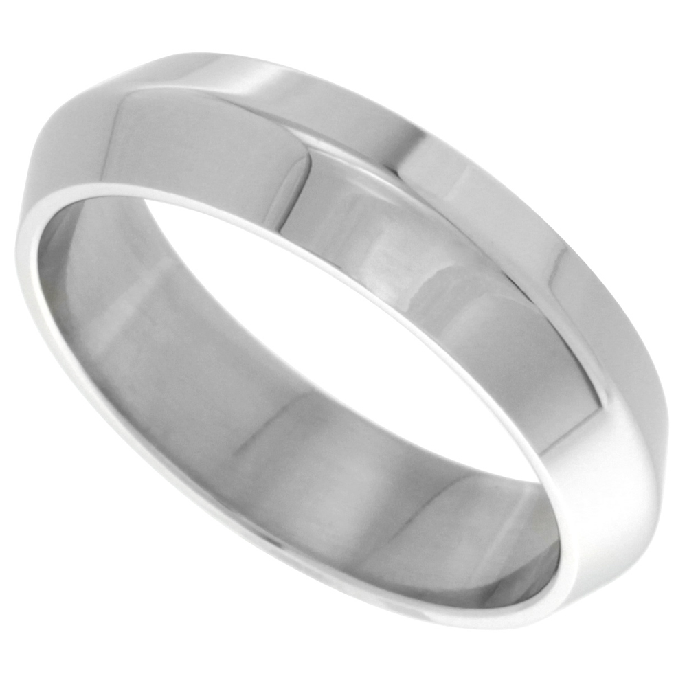 Surgical Stainless Steel 6mm Knife Edge Wedding Band Ring  Polished finish, sizes 8 - 14