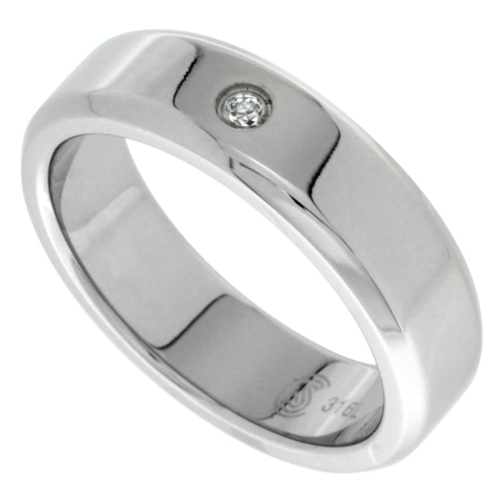 Surgical Stainless Steel 6mm CZ Wedding Band Ring Beveled Edges Polished Finish, sizes 8 - 14
