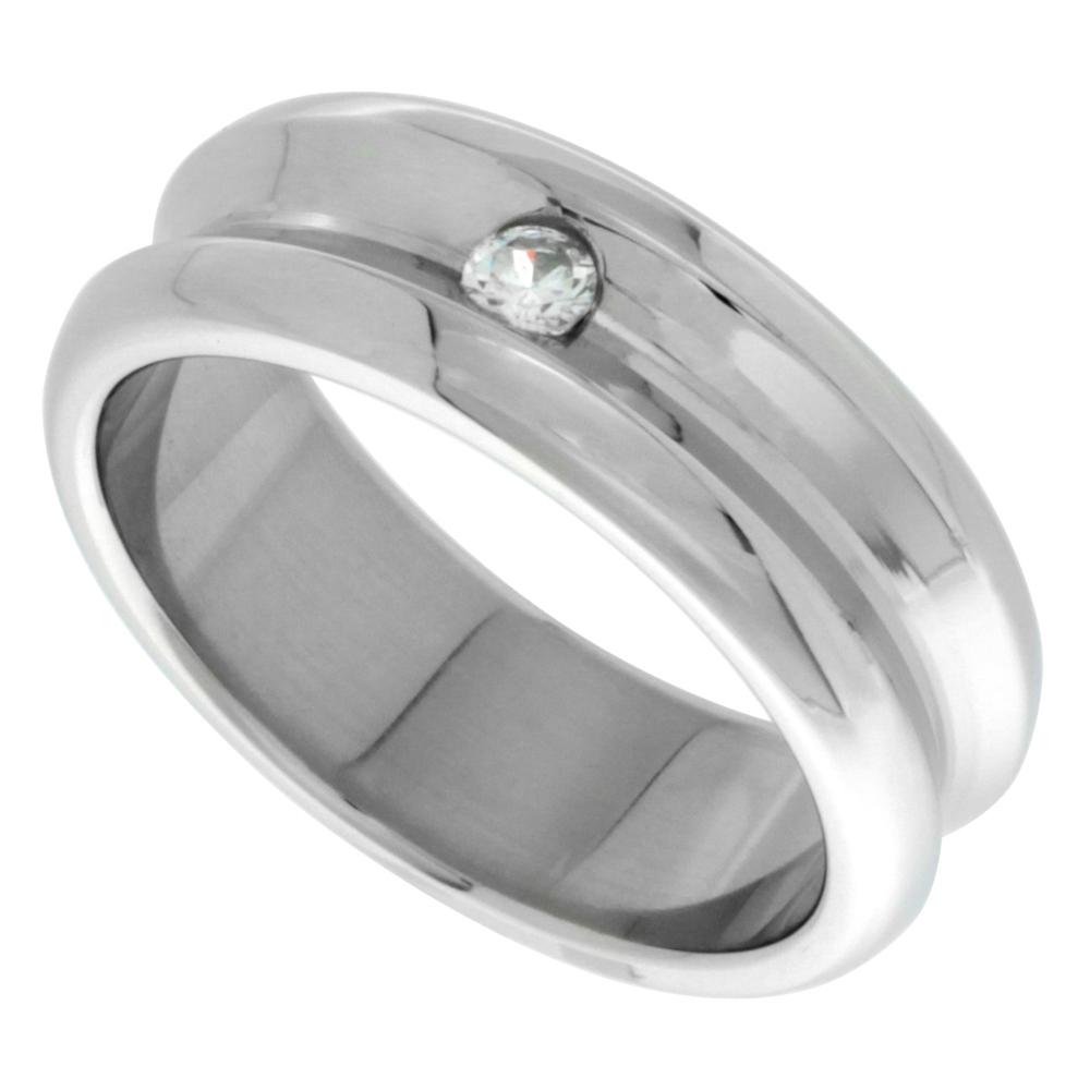 Surgical Stainless Steel 8mm CZ Wedding Band Ring Concaved Polished Finish Beveled Edges, sizes 8 - 14