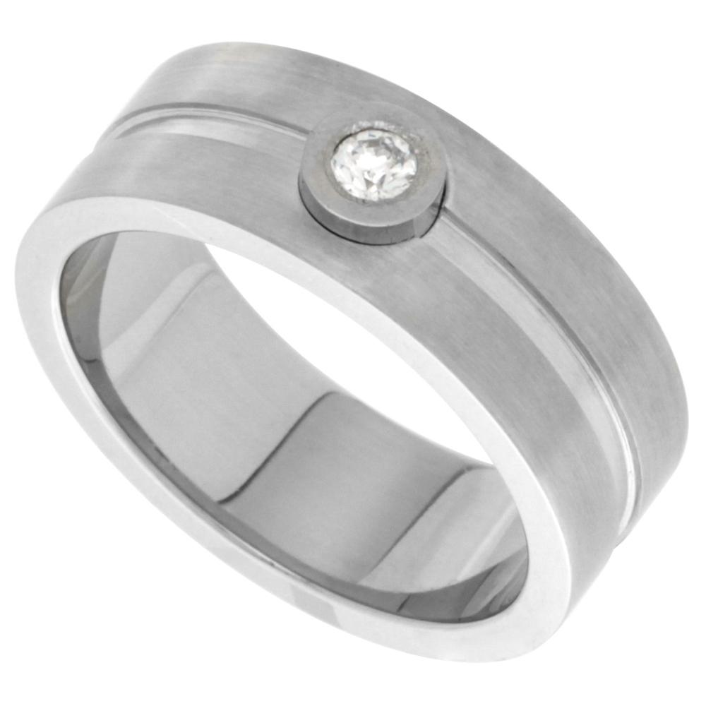 Stainless Steel 8mm CZ Wedding Band Ring Bezel Set Stone Grooved Center Matte Finish, sizes 8 - 14