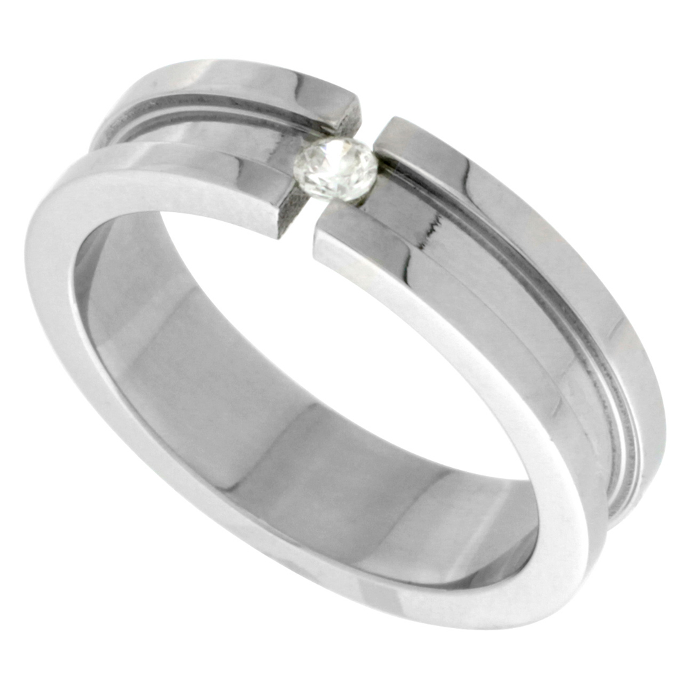 Surgical Stainless Steel 6mm CZ Wedding Band Ring Tension Set Large Groove, sizes 7.5 - 13.5