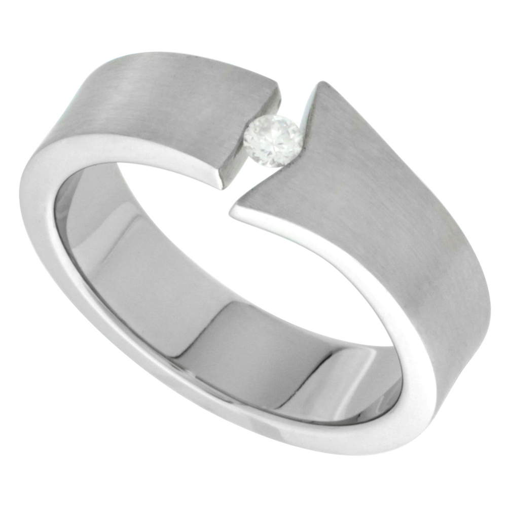 Surgical Stainless Steel 6mm CZ Wedding Band Ring Tension Set Flared End Matte Finish, sizes 8 - 14