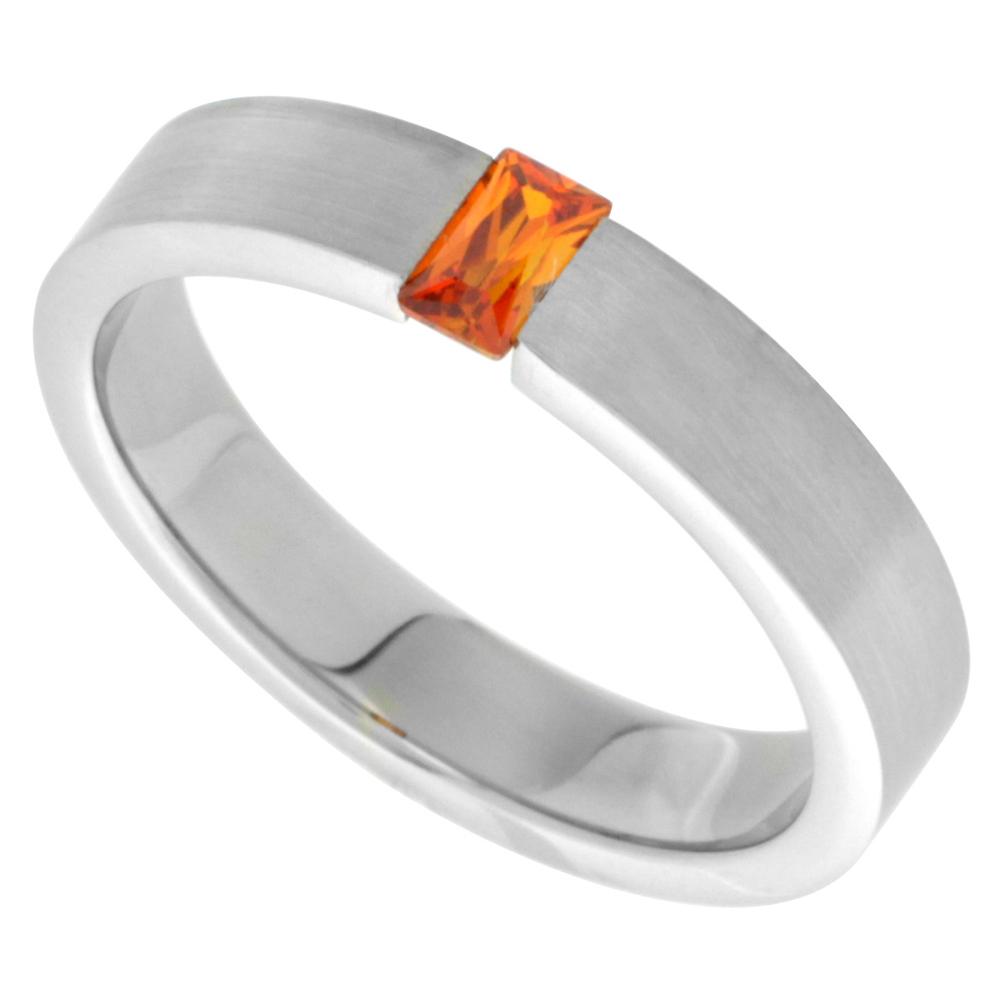 Surgical Stainless Steel 5mm Orange CZ Wedding Band Ring Tension Set Matte Finish, sizes 7.5 - 13.5