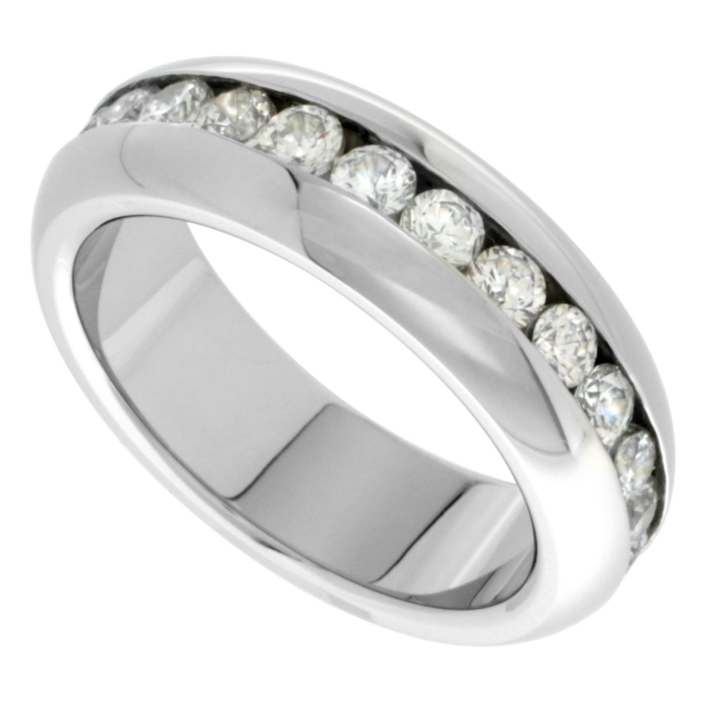 Stainless Steel 7mm Domed Eternity wedding Band Ring 3mm CZ Stones Highly Polished, sizes 7 - 14.5