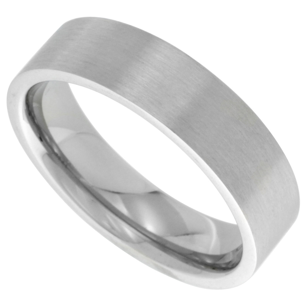 Surgical Stainless Steel 6mm Wedding Band Thumb Ring Comfort-Fit Matte Finish, sizes 7 - 14