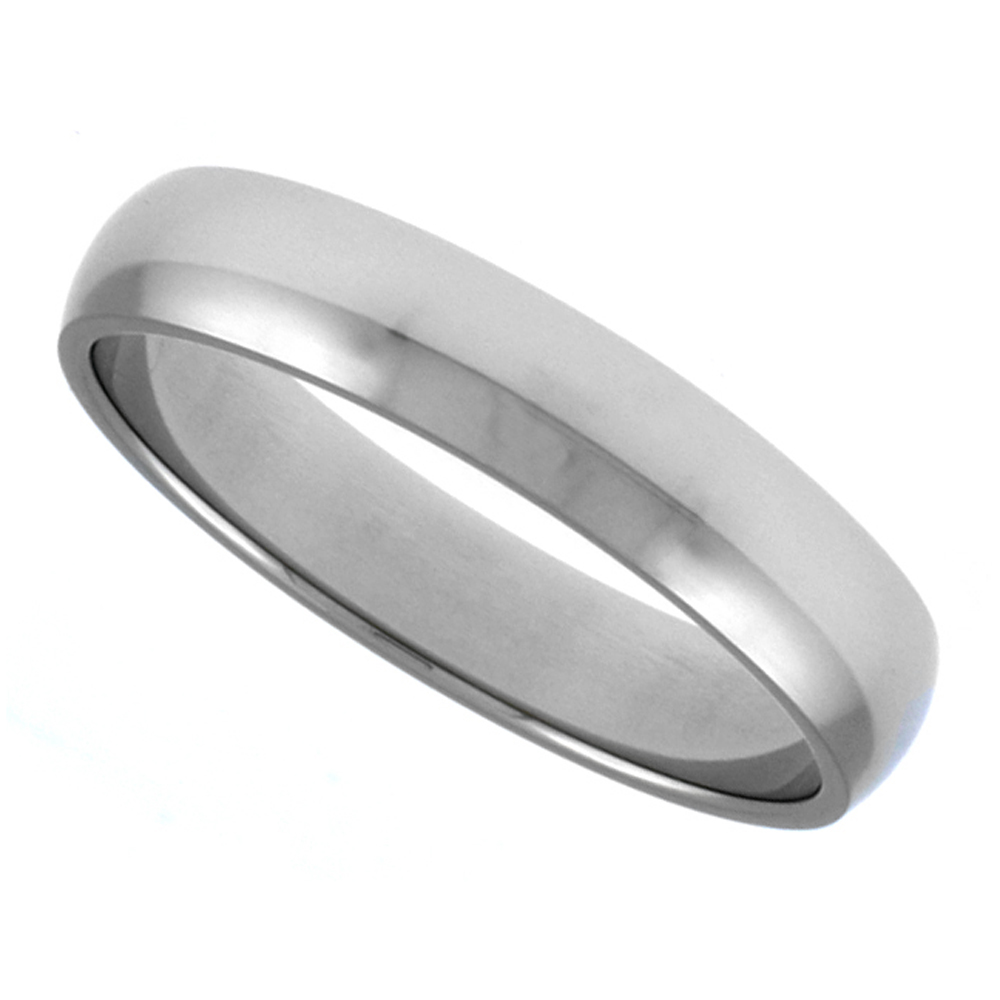 Surgical Stainless Steel 4mm Plain Wedding Ring  Domed Polished Comfort Fit, sizes 5 - 14