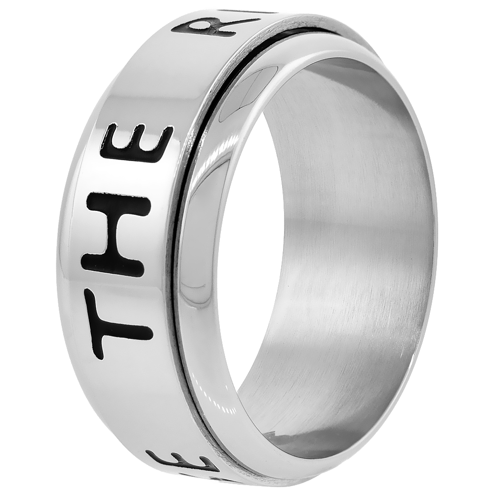 Surgical Stainless Steel 9mm CTR Spinner Ring Choose The Right Wedding Band, sizes 7 - 13