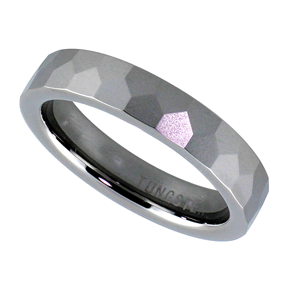 5mm Tungsten 900 Wedding Ring Faceted Dome Pentagon Patterns Comfort fit, sizes 7 - 14