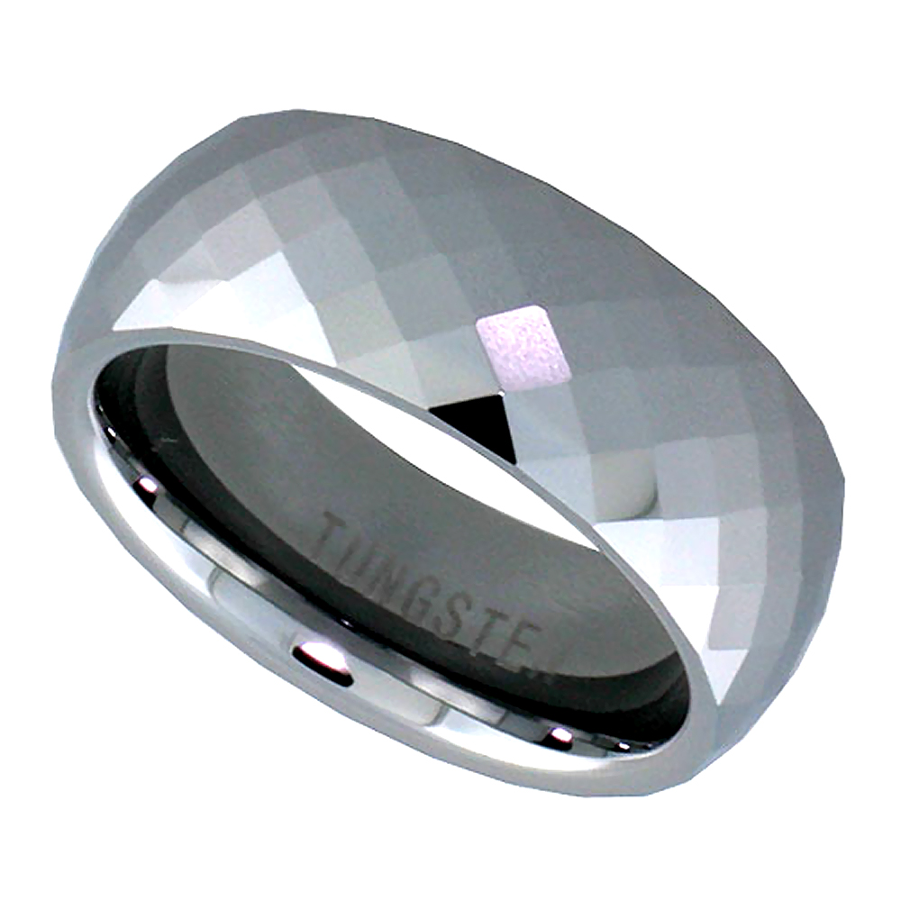 8mm Tungsten 900 Wedding Ring Faceted Dome Fine Diamond Pattern Comfort fit, sizes 5 to 14
